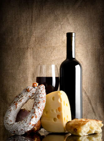 dry sausage: Wine and bread, sausage Stock Photo