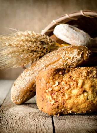 Bread, wheat and basket photo