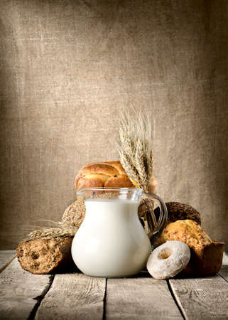milk jugs: Bread and milk