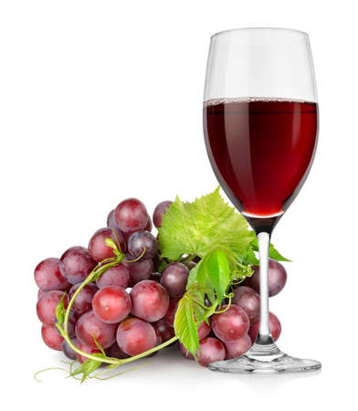 Wineglass and grapes photo
