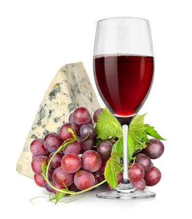 Wineglass, cheese and grapes photo