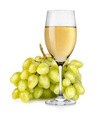 Wineglass and a bunch of grapes photo