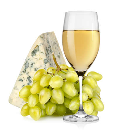 Wineglass cheese and grapes isolated photo