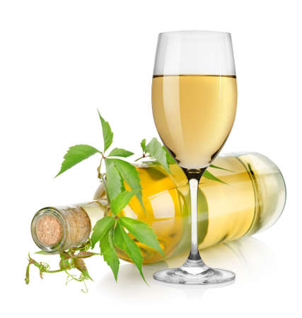 white wine glass: White wine glass and vine Stock Photo