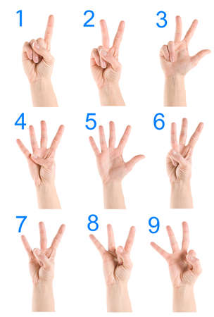 6 7: Collage hand showing number