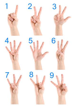 comunicacion no verbal: Collage mano que muestra el número