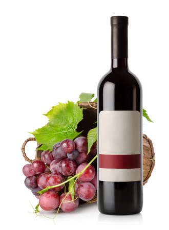 Wine bottle and grape in basket photo