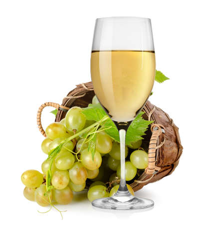 White wine and  grapes in a basket photo