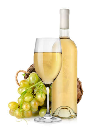 White wine bottle and grapes in basket photo