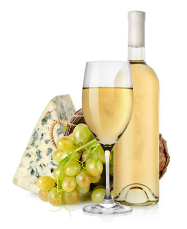 Blue cheese wine and grapes in basket photo