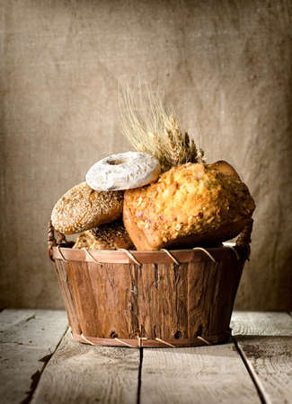 Bread assortment in a basket Stock Photo - 18197850