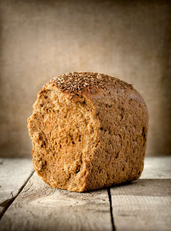 studio photography shot: black bread on the table