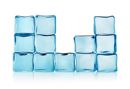 Figures from blue ice cubes isolated photo