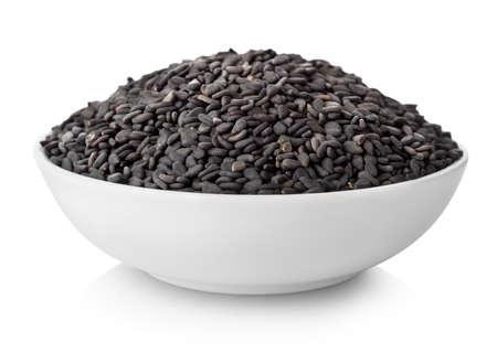 sesame seeds: Black sesame in plate Stock Photo