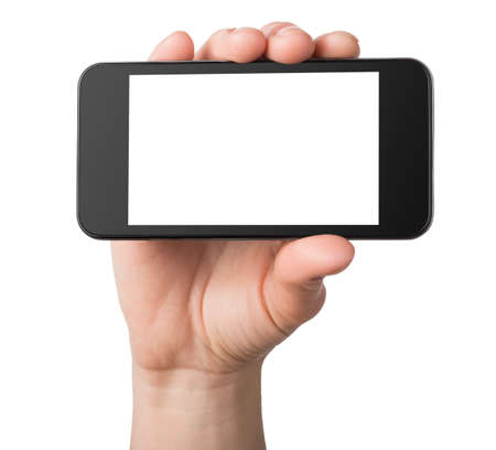 holding close: Black mobile phone isolated Stock Photo