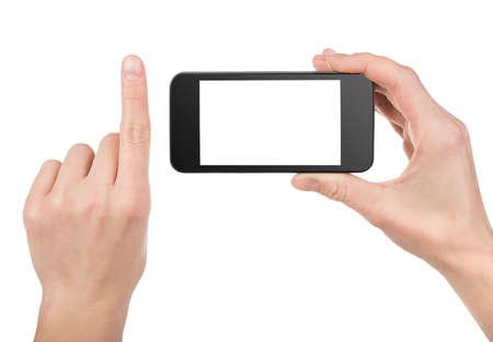 smart phone: Black smart phone in hand isolated Stock Photo