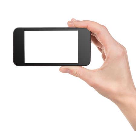 studio photography: Black smart phone  in hand