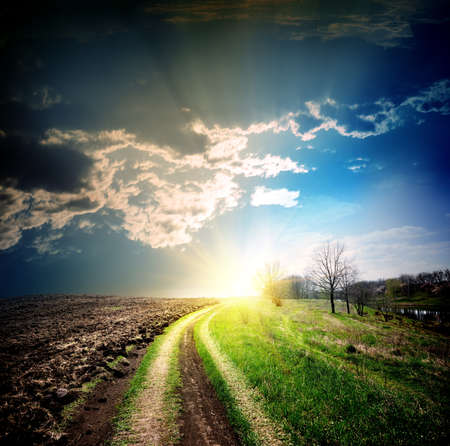 Country road disappearing into the distance to the sun Stock Photo - 19258377