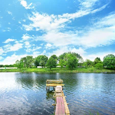 wooden dock: Wooden dock Stock Photo