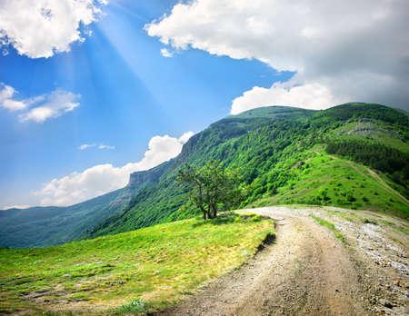 Strada di campagna in montagna
