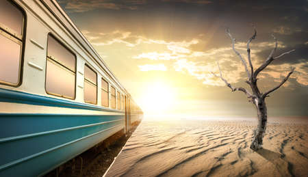 cargo transport: Railway station in desert
