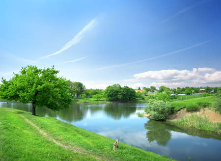 Spring landscape with the river on a sunny day Stock Photo - 20420032