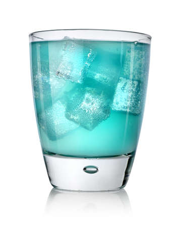 Blue drink with ice cubes Banco de Imagens