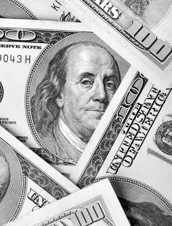 benjamin franklin: Hundred-dollar bills close-up Stock Photo