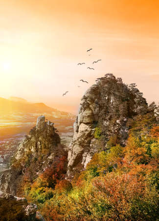 Birds over the Valley of Ghosts in Crimea photo