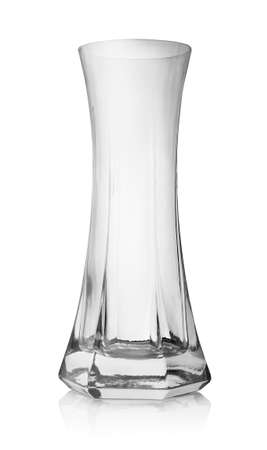Glass vase isolated on a white background Banco de Imagens