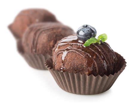 chocolaty: Three chocolate cakes isolated on a white background Stock Photo