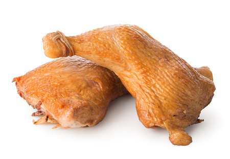 Smoked chicken legs isolated on a white background 版權商用圖片