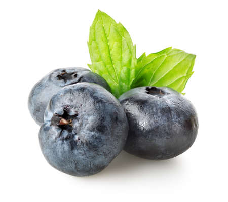 Three berries of blueberry with green leaves