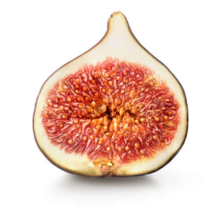 produce sections: Sliced juicy figs isolated on a white background Stock Photo