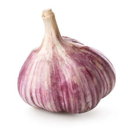 Purple garlic isolated on a white background Фото со стока