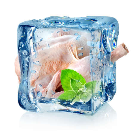 Chicken in ice cube isolated on a white background photo