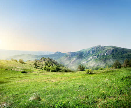 geological: Green meadow on the background of the Crimean mountains