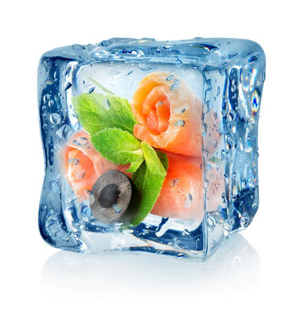 Fish rolls in ice cube isolated on a white background Stock Photo - 22739155