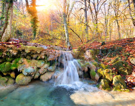 Cascade mountain river in a forest in autumn photo