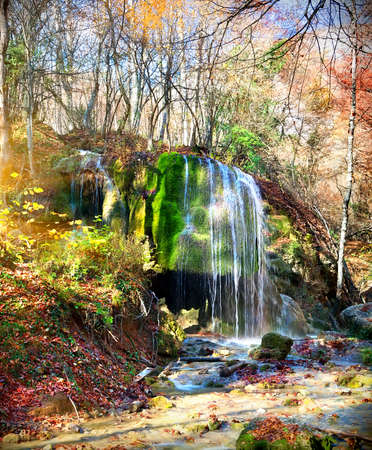 Beautiful waterfall Silver Jets at sunlight in autumn photo