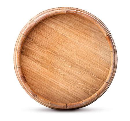 白い背景に分離された木製の樽