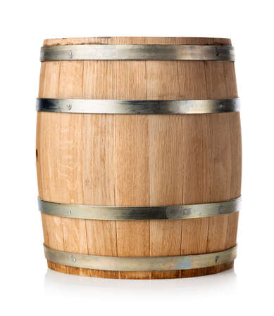 Wooden barrel isolated on a white background Фото со стока