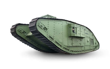 militarily: Green old tank isolated on a white background
