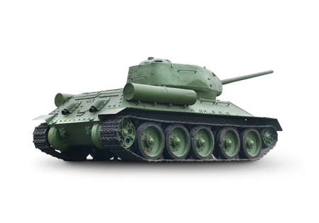 militarily: Old green tank isolated on a white background Stock Photo