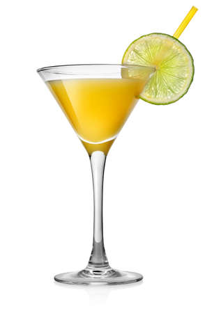 dinnerware: Yellow cocktail with lime isolated on white Stock Photo