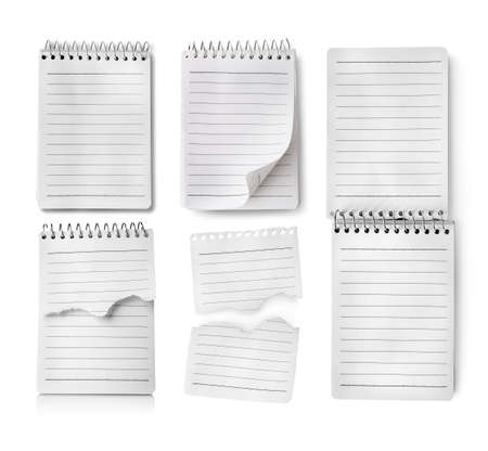 Collage of notebooks isolated on white background photo