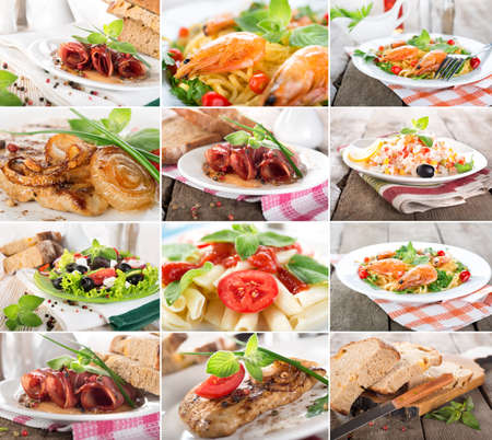 Collage van bereide gerechten van vlees en granen