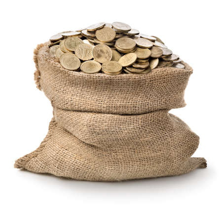 bag of money: Bag with coins isolated on a white background Stock Photo