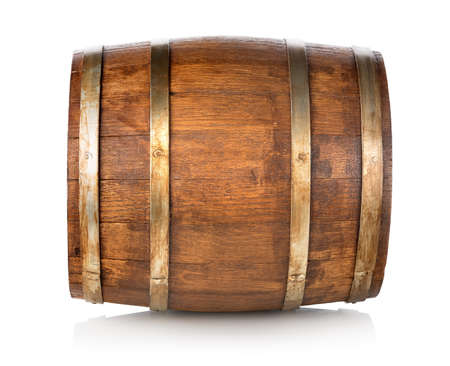Barrel made of wood isolated on a white background Stock Photo