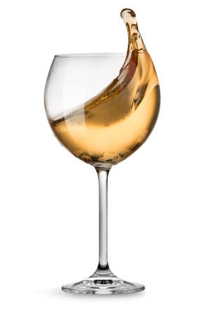 white wine glass: Moving white wine glass over a white background